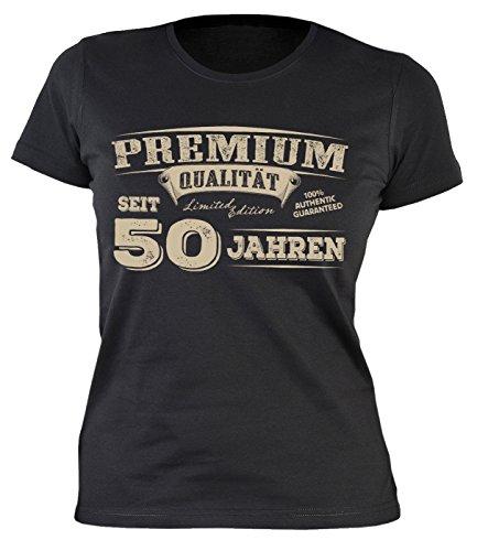 Goodman Design ® Damen T-Shirt mit Geburtstagsmotiv: Premium Qualität seit 50 Jahren - Sexy Girlie Shirt - Geschenk, Geburtstag - schwarz