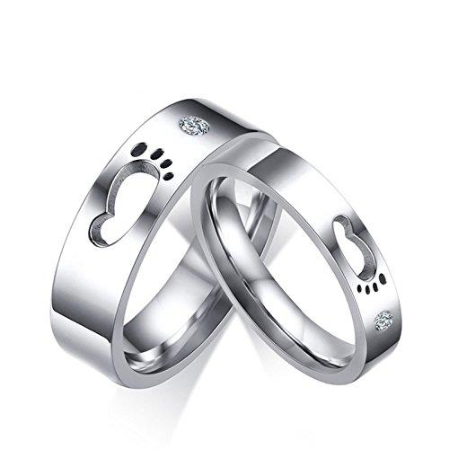 Beydodo anelli san valentino per lui e lei anelli coppia acciaio inossidabile impronte anelli zirconi donna misura 17 & uomo misura 20
