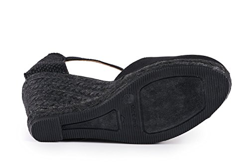 VISCATA Satuna Ankle-Strap, Closed Toe, Classic Espadrilles with 3-inch Heel Made in Spain Noir