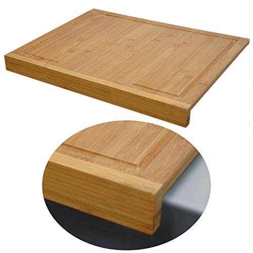 LS Design Holz Schneidebrett Tranchierbrett Schneidbrett Backbrett Bambus Anschlagleiste