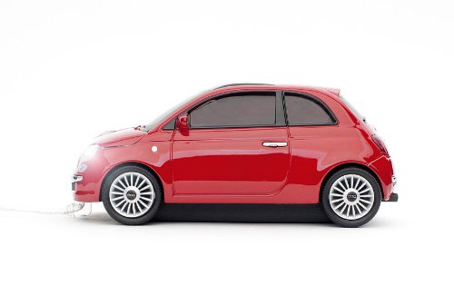 Clickcar CCM660356 FIAT 500 New Wired optische Maus (800dpi, 1,5m, USB) rot - Car Enterprise
