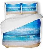 3 Stück Bettbezug-Set atmungsaktiv gebürstetem Mikrofaser Stoff Sommer wunderschönen Strand im Sommer Meer Ozean Natur Australien Landschaft Himmel Bettwäsche Set mit 2 Kissenbezüge Full/Queen Size