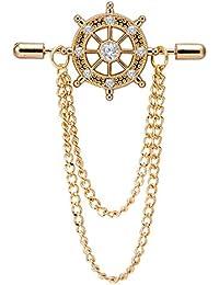 Marvel Panjatan Men's Exotic Wheel Capsule With Golden Chain Pin Brooch
