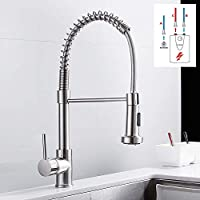 Baiye Low pressure faucet Kitchen Pull-out faucet kitchen faucet sink faucet mixer tap 360 ° mixer rinsing spray with two functions chrome faucet spiral spring
