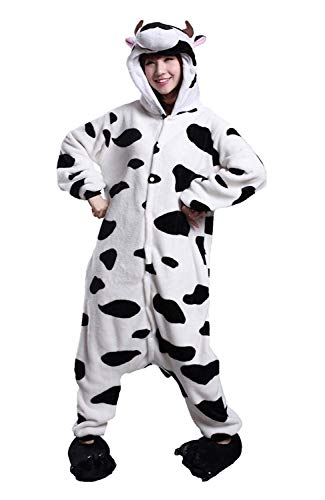 Kuh Kostüm Pyjama - URVIP Neu Unisex Festliche Anzug Flanell Pyjamas Trickfilm Jumpsuit Tier Cartoon Fasching Halloween Kostüm Sleepsuit Party Cosplay Pyjama Schlafanzug Kuh Large