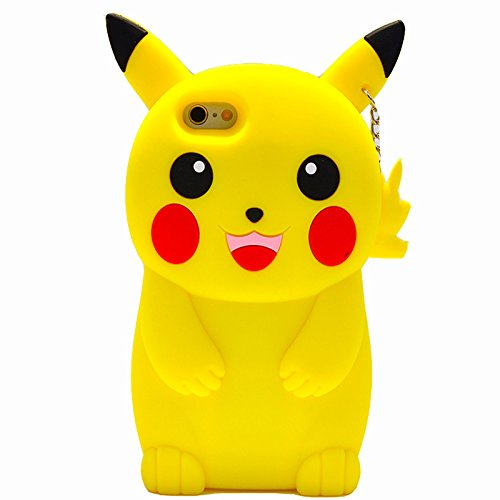 Koala Group® 3D trendige senkrecht-Silikon Sleeve Body Flamingo/Sunflower/Ice Cream/Soft Eis Widerstand Schutz Sleeve Schutzhülle für iPhone 6/6S&Iphone 6Plus/6S Plus (iphone 6Plus/6S Plus, Pikachu po Pikachu positive
