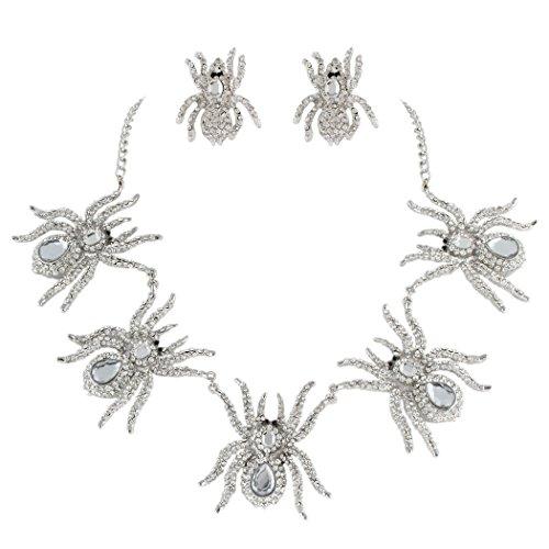 Ever Faith Österreichische Kristall Halloween Cool 5 Spinne Insekt Halskette Ohrringe Set Klar Silber-Ton