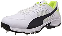 Puma Mens TeamFullSpike White, New Navy and Safety Yellow Cricket Shoes - 12UK/India (47EU)