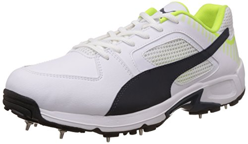 Puma Mens TeamFullSpike White, New Navy and Safety Yellow Cricket Shoes - 11 UK /India(46EU)