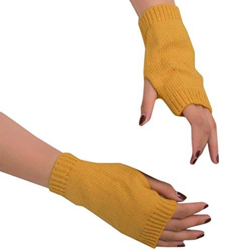 Saingace gloves Frauen Mädchen Strick Arm Fingerlose Warm Winter Handschuhe Soft Warm Handschuh (Handschuhe Gelbe Lang)