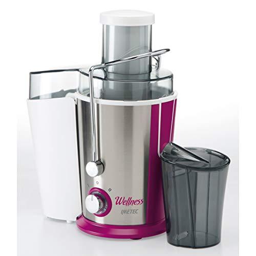 Imetec wellness je centrifuga per succhi di frutta e verdura, 2 velocità, filtro microforato in acciaio inox, ampia apertura 65 mm, estrattore di succo con ricettario, 400 w, rosa