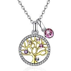 Collier femme pendentif arbre de vie cristaux en argent sterling 925 avec Cristaux de Swarovski
