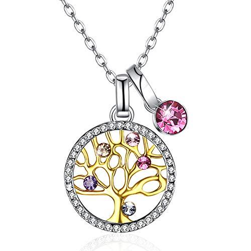Collana Donna,Ciondolo Albero della Vita in Argento 925 con Cristallo di Swarovski,Gioielli Regalo Donna/Ragazze per Ogni Occasione