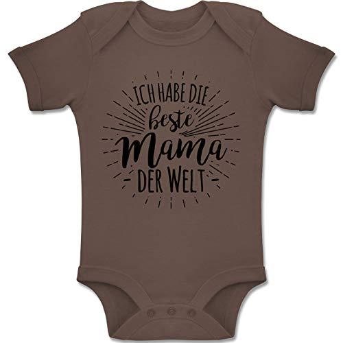 Habe die Beste Mama der Welt - 3-6 Monate - Braun - BZ10 - Baby Body Kurzarm Jungen Mädchen ()