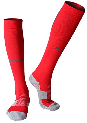 Huathy Frauen Herren 's Professional Kompression Fußball Socken Gepolsterte Abgestufte Unterstützung Kalb (Schuh: 6-10, weiß), rot -