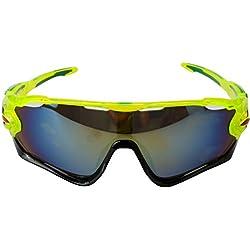 A-szcxtop Bunte, winddichte Sportbrille/Sonnenbrille für Sport im Freien (Reiten, Radfahren), unisex, Fluorescent green-Gold