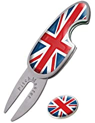 UNION JACK PITCHMASTER GOLF DIVOT TOOL. PITCHMARK REPAIRER