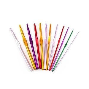 12 Sizes Multi coloured Aluminum Crochet Hooks Needles Set 2mm-8mm