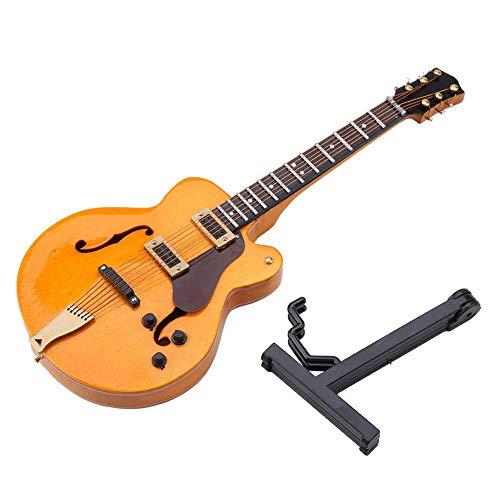 Modello di Strumento per Chitarra in Miniatura, Mini Guitar Replica Strumento Modello di Ornamenti Musicali con Supporto e Custodia per Regalo di Compleanno di Natale Home Cafe Garden Decor(14cm款)