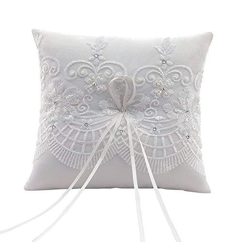 SwirlColor Bianco Crema Graceful Wedding Ring Pillow con ricamo a mano, 7,5 pollici quadrato