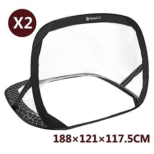 Fitnessclub Set of 2 Quick Pop Up Football Goals Target Shot Net Folding Outdoor Indoor Training Kids Childs Soccer Training With Carry Bag Ground Nails 188 cm *121 cm *117.5 cm