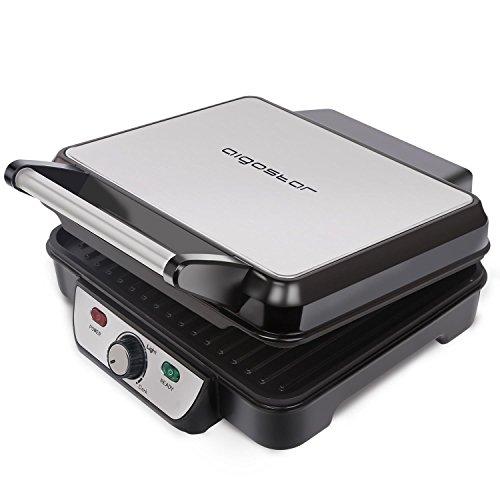 Aigostar Calore 30HHK - Panini Maker/Kontaktgrill, Sandwichpresse, Elektrogrill, 1800 Watt, Cool Touch, Nonstick, Leuchtanzeige, BPA Free, Silber. Exklusives Design.
