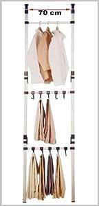 Ruco V145.2 Structure penderie télescopique en aluminium avec cintres à pantalon