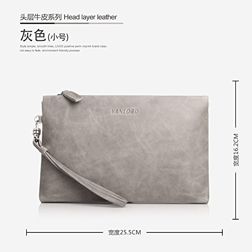 Handtasche, Leder, Tasche die große Kapazität Männer, business casual Umschlag Tasche, groß blau Small gray