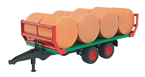 BRUDER - 02220 - Remorque de Transport de Paille avec 8 Bottes Rondes