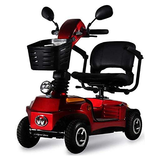 Faltbarer Elektrischer Roller 4 Räder, Leicht Ältere Erwachsene Adjustable Elektro-Rollstuhl Mini Power Scooter 250W Motor/Gefahrene 20-25Km,Rot -