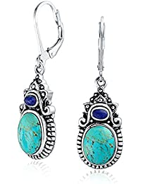 Bling Jewelry Bleu Turquoise Lapis Sterling Silver Dangle Leverback Boucles d'oreilles