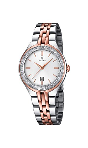 Festina Women's Quartz Watch with White Dial Analogue Display and Silver Stainless Steel Rose Gold Plated Bracelet F16868/2