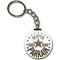 Cadeau PARRAIN Super Parrain Porte clés chaînette 38mm ( Idée Cadeau Baptême Communion Noël )