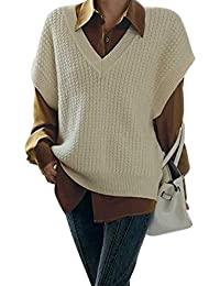 Women 's V Neck Sweater Vest, Casual Sleeveless Solid Color Cable Knitted Loose Fit Tank Top