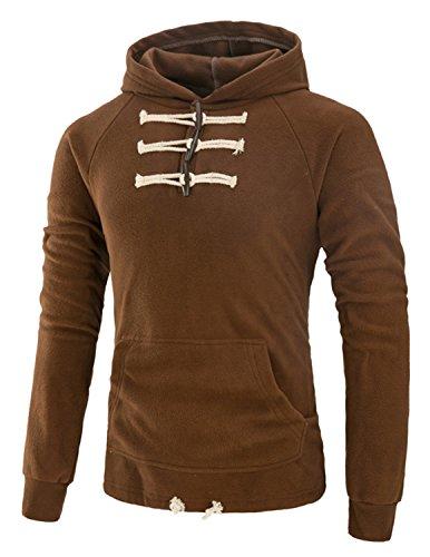 Boom Fashion Herren Kapuzenpullover Langarm Polar Fleece Jacke Kapuze Hoodie Sweatshirt Braun