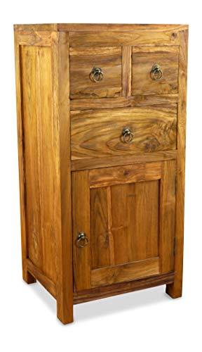 livasia Java Kommode aus Teakholz | Schubladenschrank aus Massivholz |  Garderobenschrank der Marke Asia Wohnstudio | Teakholzschrank | Badezimmer-