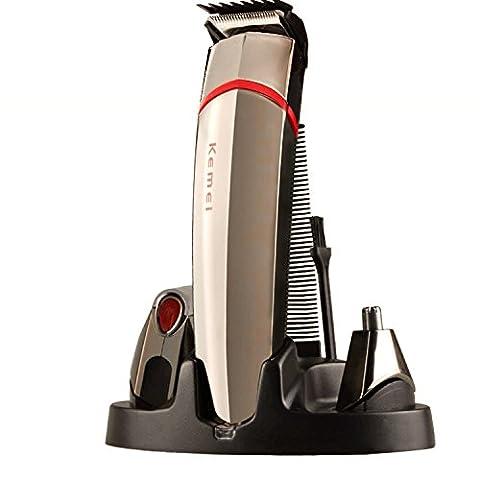 5 en 1 Kit Tondeuse Rasoir Multifonctionnel pour Barbe Cheveux Nez Moustache Professionnelle Rechargeable