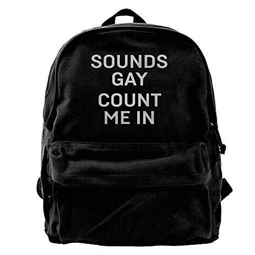 Womens Französisch Geldbörse (HOJJP Schultasche Sounds Gay Count Me in Fashion Canvas Shoulder Backpack for Men & Women Teens)