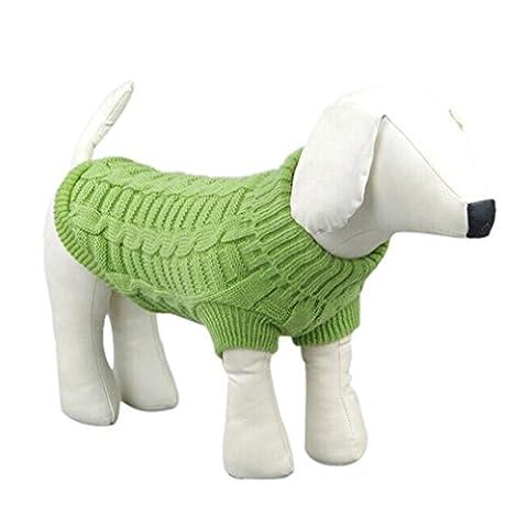 Vetement Chien Koly Chat Pet Puppy Chien Warm Sweater VêTements Knit VêTements D'Hiver Costumes VêTements Pour Animaux (XXL, Verde)