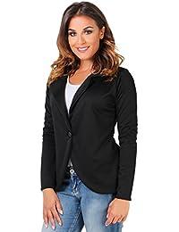 KRISP Damen Eleganter Blazer Schwarz Samt Jacke Lila Business Große Größen