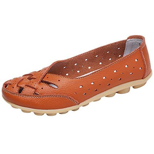 Alaso Mocassini da donna in pelle casual, comodi, scarpe piatte, mocassini estivi per guida arancione 40