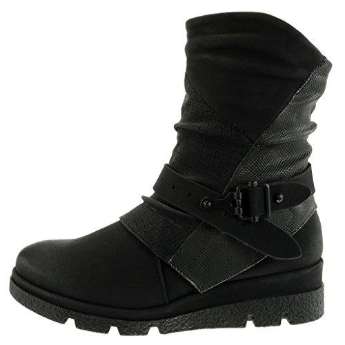 Angkorly - damen Schuhe Stiefeletten - Biker - Reitstiefel Kavalier - Krokodil - Schlangenhaut - Schleife Keilabsatz 4 CM Schwarz