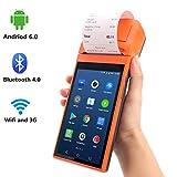 [ Android 6.0 ] Terminal PDA Lector Codigo Barras Android de Mano 5 Pulgadas con 3G WIFI Bluetooth Impresora Térmica Incorporada MUNBYN y Lector de Códigos de barras 1D / QR para Impresión de Recibos para Pequeñas Empresas
