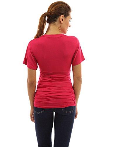 PattyBoutik Mama Top de maternité style taille empire cou V à manches courtes Pink Rose