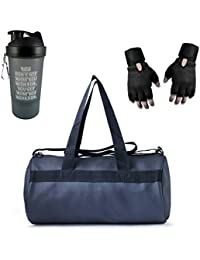 VELLORA Leather Soft Gym Bag (Black) With Sport Sipper Water Bottle And Black Color Gloves