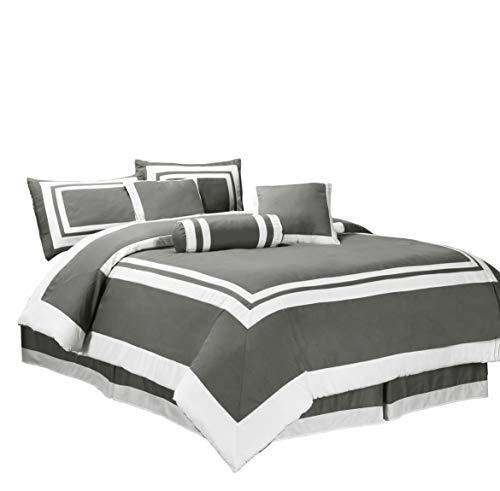 chezmoi Collection 7-teilig Caprice grau/weiß quadratisch Muster Hotel Bettwäsche Tröster Set (California King, Grau/Weiß) (Hotel Collection Bettwäsche-sets)