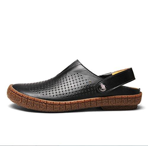 Herren-Ledersandalen Mode schweißabsorbierend atmungsaktiv Zwei tragen Hausschuhe Sandalen Sommer Outdoor Wandern Bergsteigen lässig Fahren Schuhe Sandalen ZHANGM (Farbe : Schwarz, größe : 42 EU)
