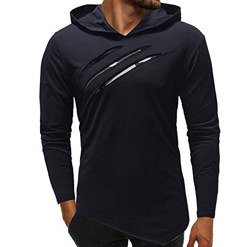 Riou Herren Langarm Hoodie Sweatshirt Slim fit Sweatjacke Kapuzenpullover Pullover T-Shirt Baumwoll Outwear Herren Pure Color Camouflage Nähte Hoodie Langarm Shirt Top (XL, Marine)