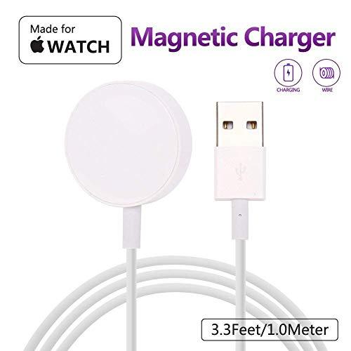 MASOMRUN iWatch Charger 1M Base de Carga magnética para la Base de iWatch Base de Carga Magnética para Reloj Appl e 38mm y 42mm / Serie Appl y Watch 1/2/3/4-Blanco