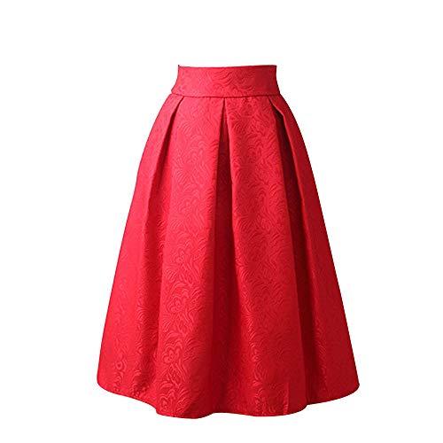 WOZOW Damen Kleid Solid A Line Knielänge Kostüm Stickerei Rose Elegant Party Vielseitige Dehnbaren Informell Frauen Skater Rock Abendkleid (3XL ()